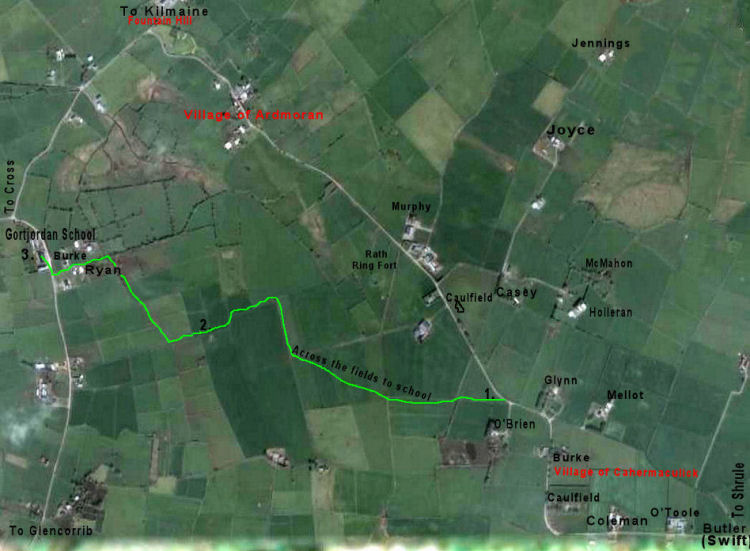 Map traces route travelled across fields to school